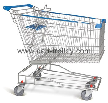 Supermarket shopping cart with tray