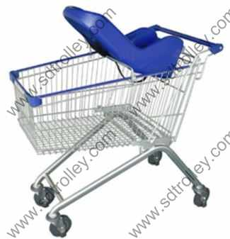 Supermarket trolley cart with baby seats