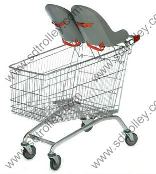Supermarket trolley cart with double baby seats